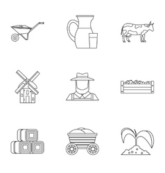 Animal farm icons set outline style vector