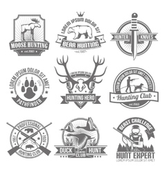 Black hunting emblems set vector