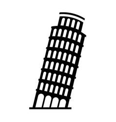 Black icon leaning tower of pisa vector