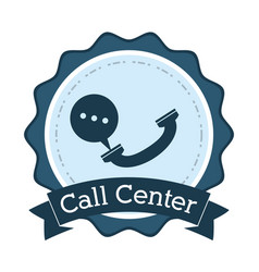Call center telephone helpline communication badge vector