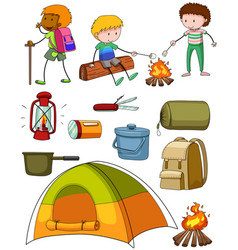 Camping set with campers and tent vector