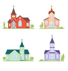Catholic church landscape vector