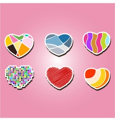 color icons with hearts vector image vector image