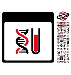 Dna analysis calendar page flat icon with vector