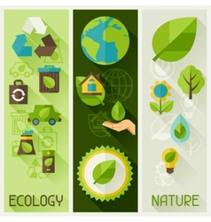 Ecology banners with environment icons vector image