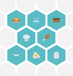 Flat icons fast food chef hat loaf and other vector