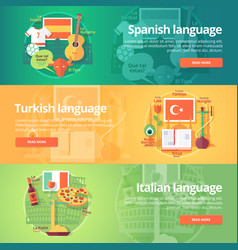 Foreign languages learning banner set design vector