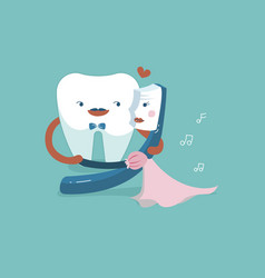 Gentleman tooth is dancing with lady toothbrush vector