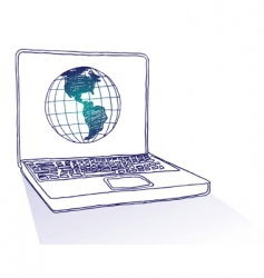 globe laptop vector image
