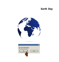 globe sign and earth day iconearth day idea vector image