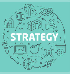 Green line flat circle strategy vector