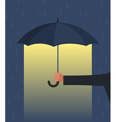Hand holding an umbrella vector