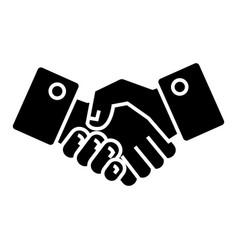 handshake icon black sign on vector image