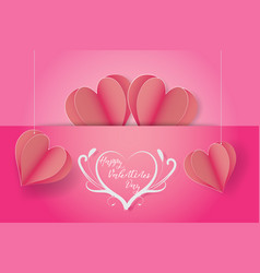 Happy valentines daypaper cut style vector