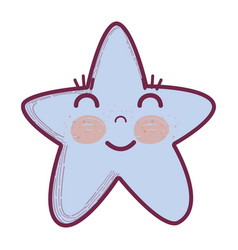 Kawaii happy star with close eyes and cheeks vector