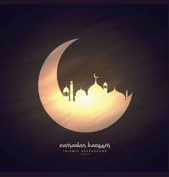Moon and mosque ramadan kareem background vector