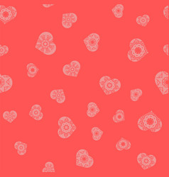 Ornamental heart random seamless pattern vector