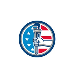 Plumber hand pipe wrench usa flag upright circle vector