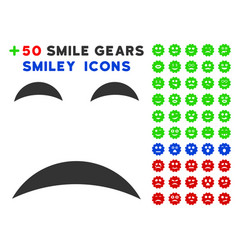 sadness smile icon with bonus emoticon set vector image vector image
