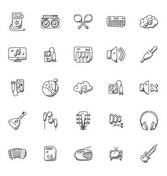Set of music instruments doodle icons vector