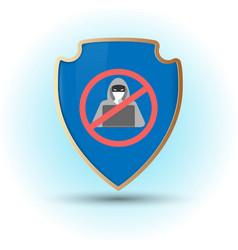 Shield with stop hacker simbol vector