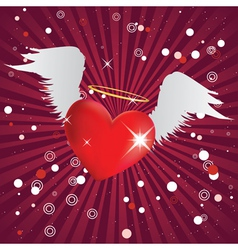 Shiny heart with angel wings vector image vector image