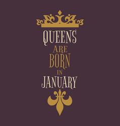 Vintage queens crown silhouette motivation quote vector