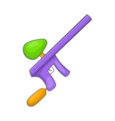 Paintball gun icon in cartoon style vector
