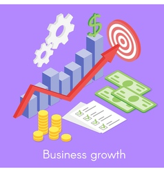 Isometric concept for business growth money and vector
