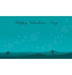 Landscape cupid on the hill valentine collection vector image