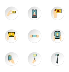 Shooting on cell phone icons set flat style vector