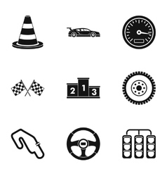 Race cars icons set simple style vector