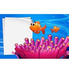 A blank signage under the sea vector