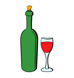 Wine bottle and wine glass icon cartoon vector