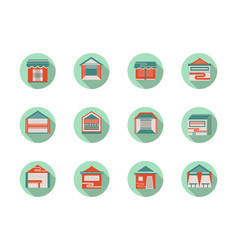 Kiosk and marquees round flat color icons vector