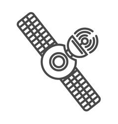Radio broadcasting satellite linear icon vector