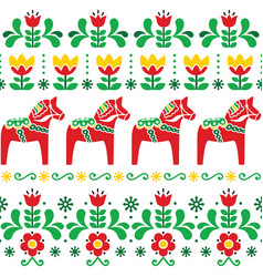 Swedish dala horse pattern scandinavian style vector