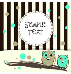 Template postcard with two cute owls vector