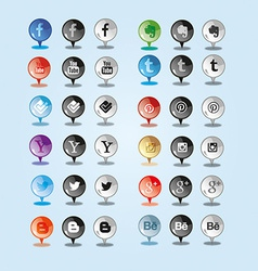 Sleek and shine pin social media icon vector