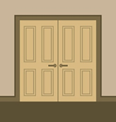 Flat design wooden double doors vector