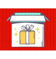 Open box with icon of gift box on red je vector