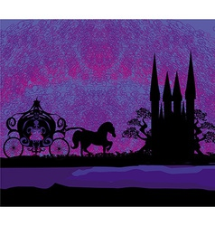 Silhouette of a horse carriage and a medieval vector