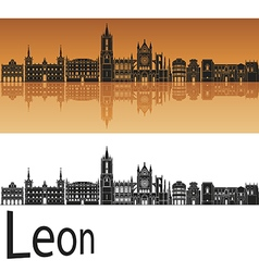 Leon skyline in orange background in editable file vector