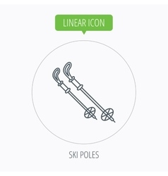 Skiing icon ski sticks or poles sign vector