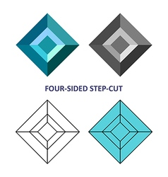 Four-sided step-cut gem cut vector