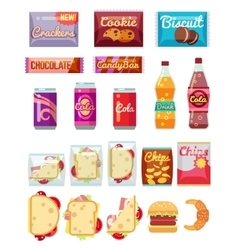 Vending machine products packaging flat icons vector