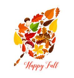 autumn leaf with mushroom fallen foliage acorn vector image vector image
