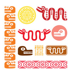 aztec animals mayan snake ancient mexican design vector image vector image