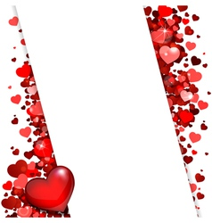 background of red hearts vector image