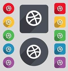 Basketball icon sign A set of 12 colored buttons vector image vector image